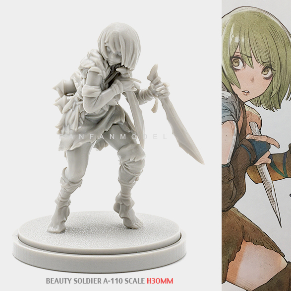 30MM Resin Kits KD Beauty Soldier Goddess Self-assembled A-110