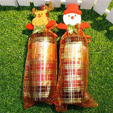 Ellenmar Lovely Wine Bottle Cover Cute Drawstring Snowman Christmas Red Wine Bottle Cover Party Bar Decoration for Christmas(China)