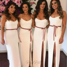 Real Rill Side Split Bridesmaid Dresses Scoop Neck Spaghetti Straps Satin Floor Length Wedding Guest Dress For Party