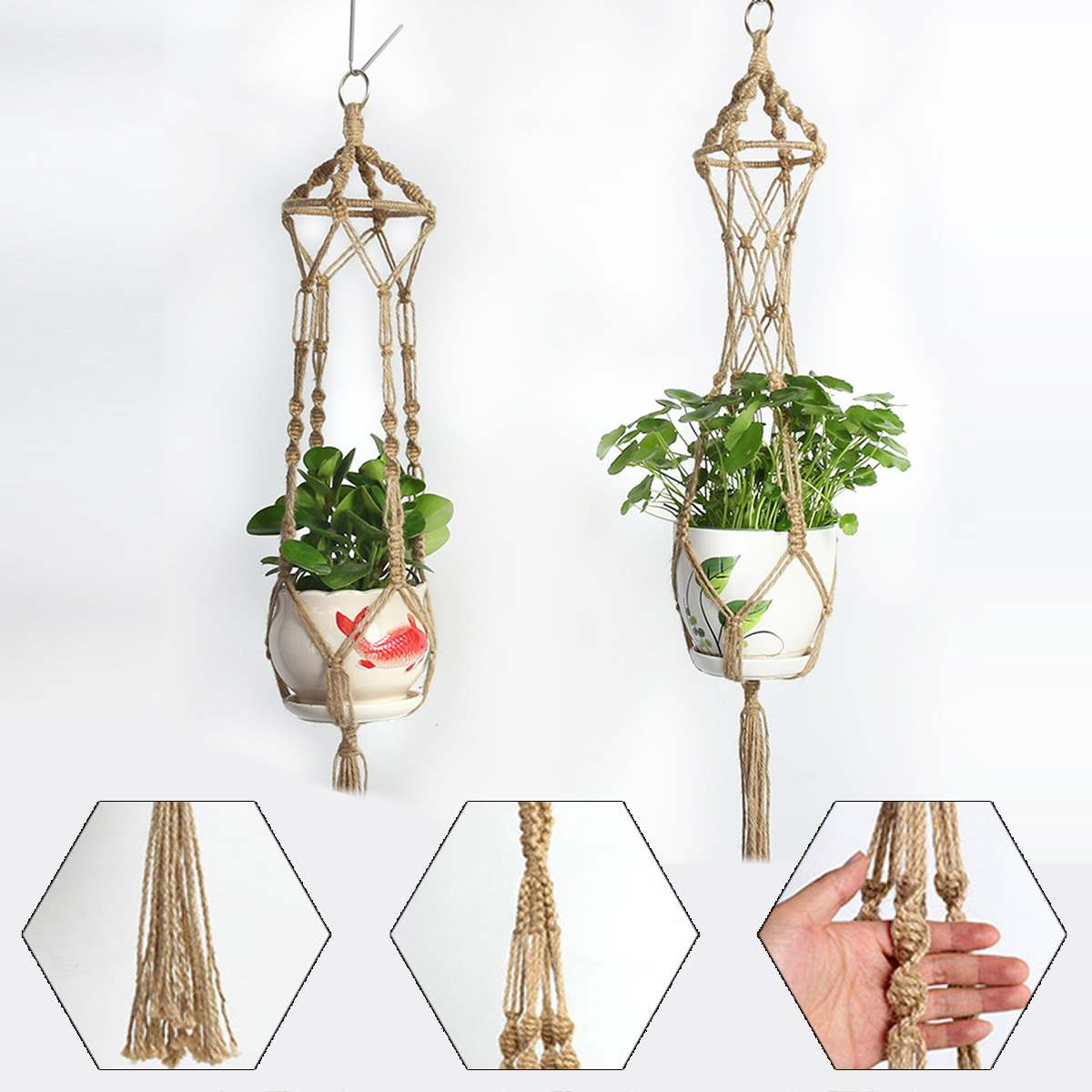 Vintage Decor Macrame Plant Hanger Basket Flowerpot Plant Holder Macrame Hanging Knotted Lifting Rope Garden Home Garden Decor