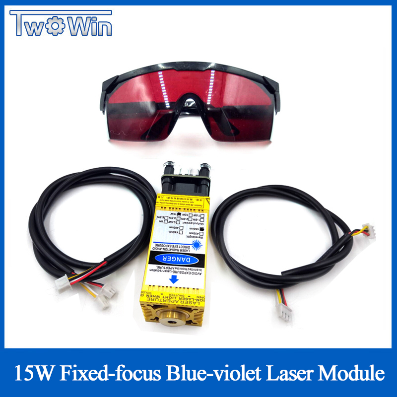 15W Fixed-Focus Blue-Violet <font><b>Laser</b></font> Module for Engraving Stainless Steel & Cutting 3mm Wood <font><b>15000mw</b></font> DIY Carving Engraver Accessory image