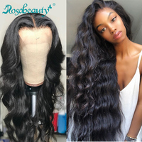 Rosabeauty 8 28 30 inch Brazilian Body Wave Long 13x6 Lace Front Human Hair Wigs 360 Lace Frontal Wig Pre Plucked With baby hair