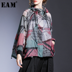 [EAM] Loose Fit Red Pattern Printed Big Size Thin Jacket New Hooded Long Sleeve Women Coat Fashion Tide Spring Summer 2020 1T726