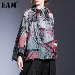 [EAM] Lose Fit Rot Muster Gedruckt Großen Größe Dünne Jacke Neue Mit Kapuze Lange Hülse Frauen Mantel Mode Flut frühling Sommer 2020 1T726