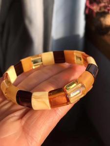 Image 5 - Natural Red Amber Yellow Piebald Amber Bracelet 14x13mm Mixed Bead Women Healing Rectangle Beads Bangle Certificate AAAAA