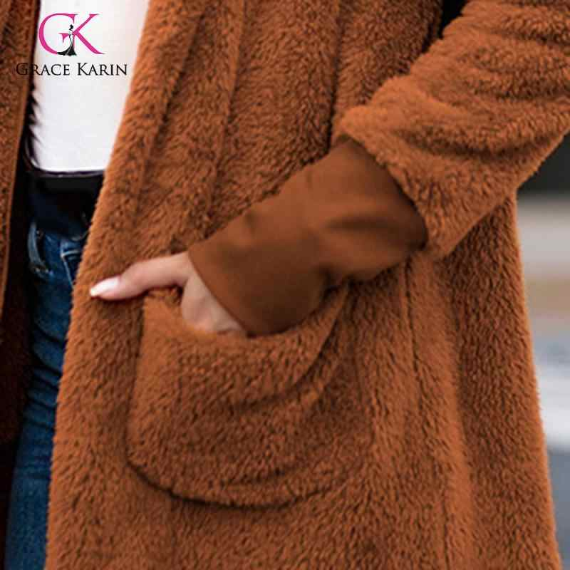 Grace Karin معاطف نسائية من فرو صناعي دافئة للخريف والشتاء وأكمام طويلة من الصوف مع قبعة خارجية جاكيت تيدي معطف طويل فام 2020