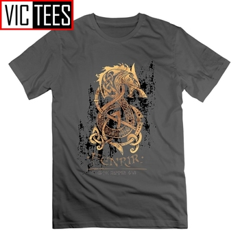 Viking The Nordic Monster Wolf Odin Valhalla T Shirt Short Sleeves Tees T-Shirts 100% Cotton Vintage Tops for Men кий пул 2 pc viking valhalla 003
