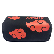 Canvas Naruto Akatsuki Red cloud Logo Hokage Cartoon Anime Etui Potlood Tas Dubbele Rits Briefpapier Doos Kerst Nieuwe(China)