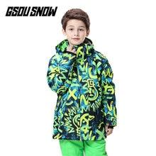 GSOU/зимние сноубордические куртки для мальчиков; уличная дышащая водонепроницаемая ветрозащитная Детская куртка для сноуборда; яркая Теплая Лыжная куртка