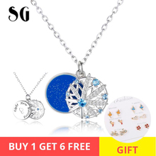 Genuine 925 Sterling Silver Snowflake Pendant Necklaces with Blue CZ for Women Fashion Jewelry Valentine's Day Gift ztung gop9 for us fashion ziron flowers pendant send with white and blue material 925 silver chian for women wonderful gift