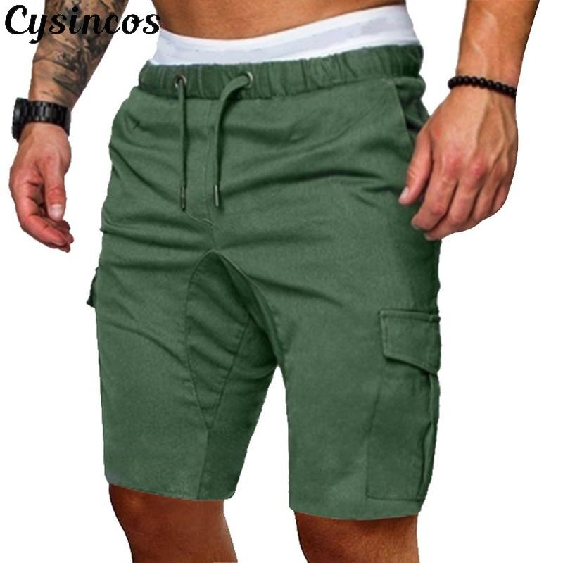 CYSINCOS  Male 2019 Shorts Men Cotton Loose Work Casual Cotton Pants Plus Size Men Casual Elastic Solid Pockets Trousers