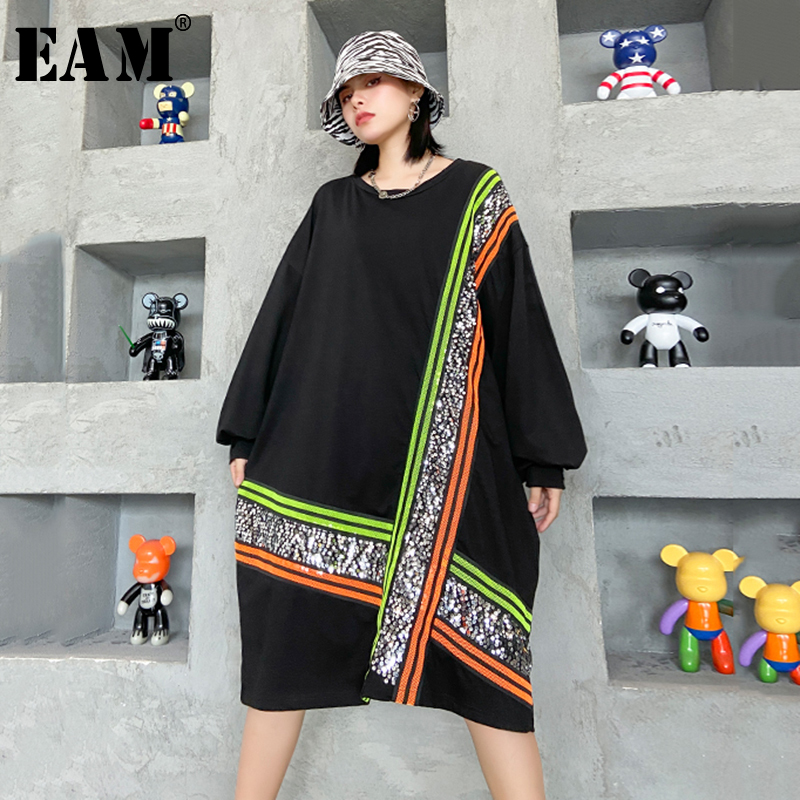 [EAM] Women Black Plaid Sequins Big Size Dress New Round Neck Long Sleeve Loose Fit Fashion Tide Spring Autumn 2020 1Z218