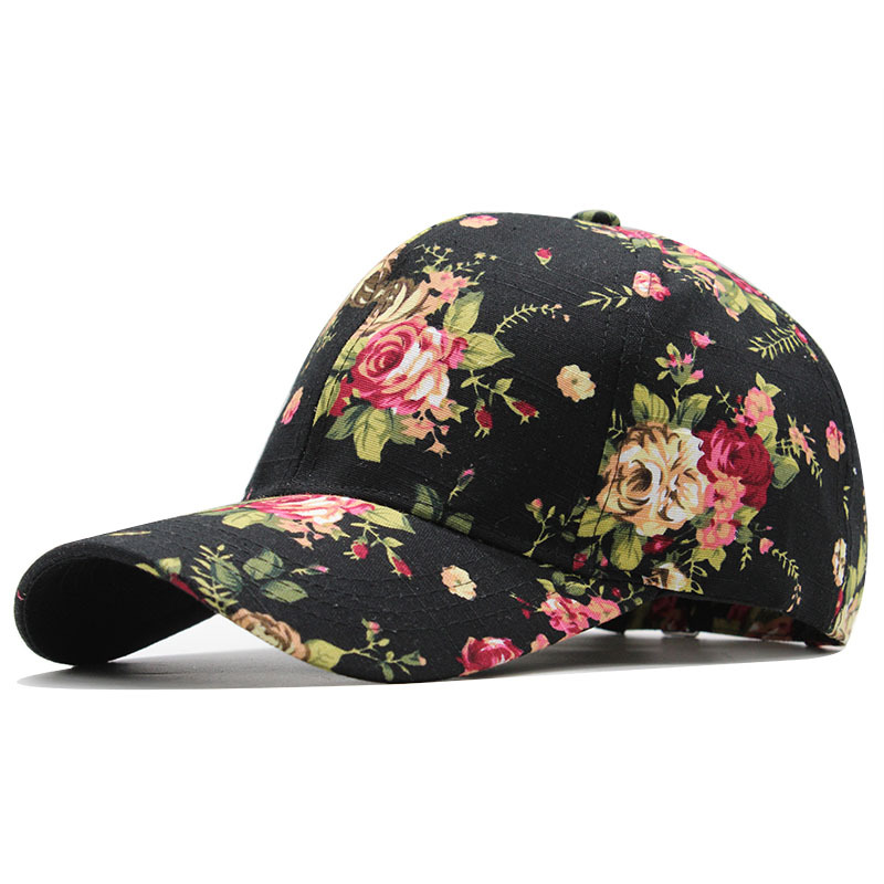 Women's baseball caps solid print ladies hats shade couple hats outdoor stretch cotton flowers leaves Girls youth baseball cap