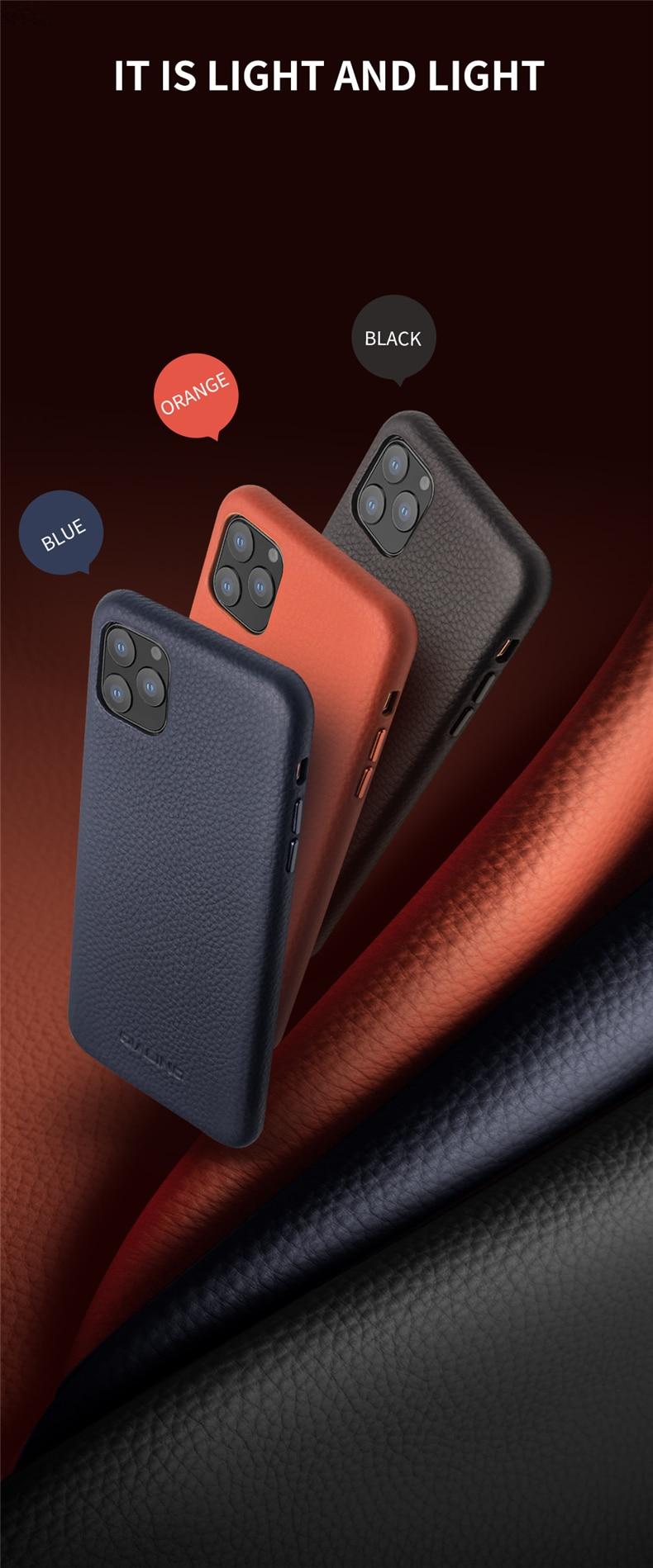 QIALINO Fashion Genuine Leather Back Cover Handmade Ultra Slim Phone Case