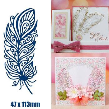 DIY piórko wykrojniki Scrapbooking tworzenie kartek wytłaczanie rękodzieło umiera tanie i dobre opinie Flower Feather Metal Cutting Dies