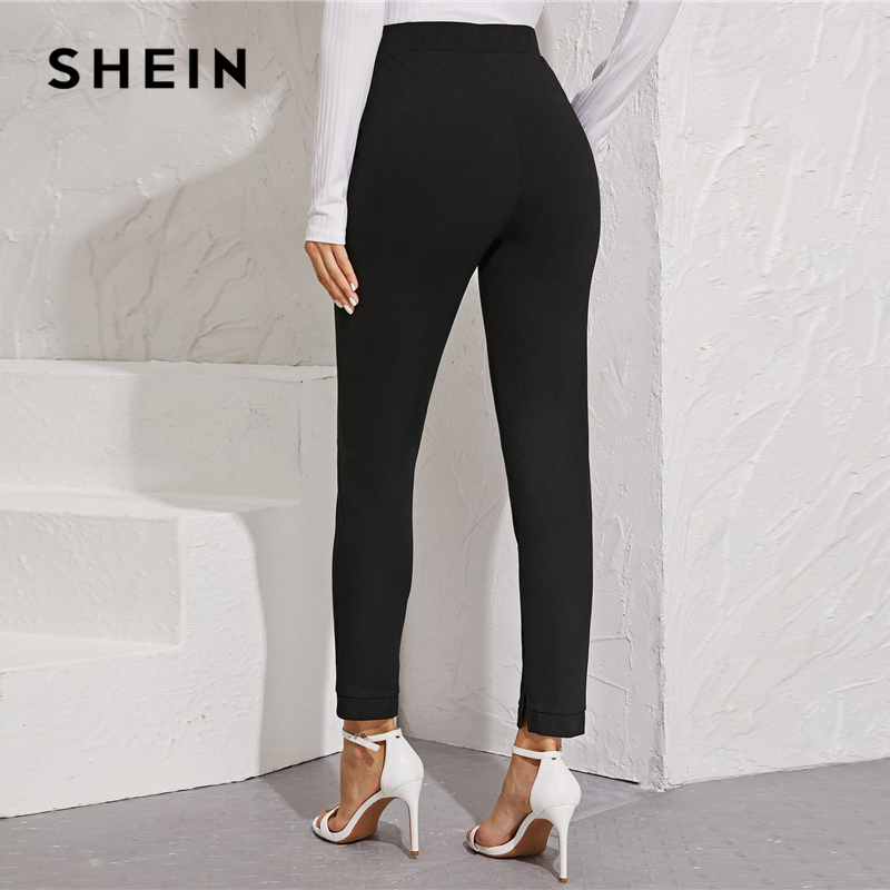 SHEIN Solid Elastic Waist Pocket Side Split Hem Elegant Pants Women Bottoms Autumn High Waist Office Ladies Skinny Trousers 2