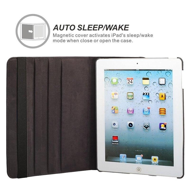 Para ipad 2 3 4 caso 360 graus de rotação capa de couro do plutônio para apple ipad 2 3 4 suporte casos inteligente tablet a1395 a1396 a1430 5