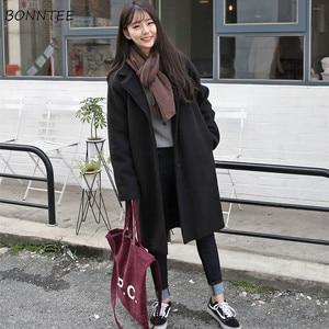Image 1 - Laine mélanges femmes haute qualité chaud élégant Ulzzang all match automne hiver à la mode Style coréen mode femmes vêtements Chic