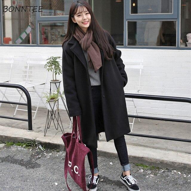 Mieszanki wełny kobiety wysokiej jakości ciepłe eleganckie Ulzzang cały mecz jesień zima modne koreański styl moda damska odzież Chic