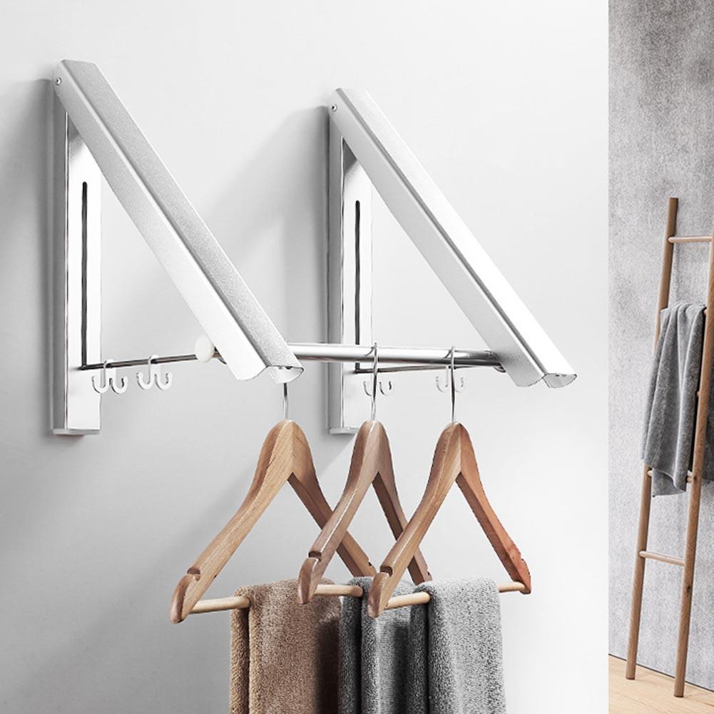 Folding Wall Mounted Clothes Airer Coat Hanger Adjustable <font><b>Organizer</b></font> Washing Line <font><b>Shirt</b></font> Dryer Rack Space Saving Cupboard Storage image