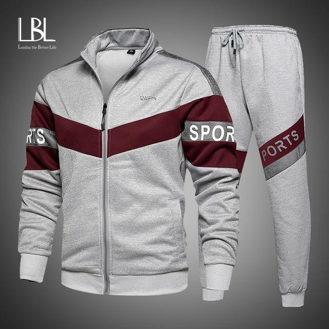 New Spring Mens Clothing Men Hoodie Sets Printing Suit Set Fleece Zipper Sweatshirt Casual Sport Sweatpants Mens Tracksuits 2021 1