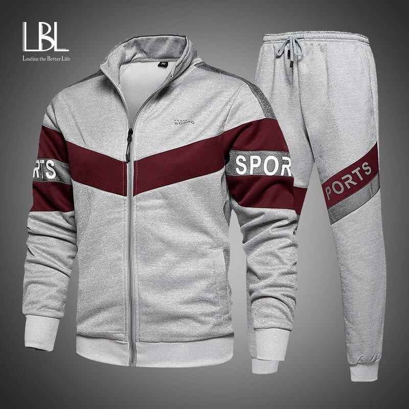 Yeni bahar erkek giyim erkekler Hoodie setleri baskı takım elbise seti polar fermuar kazak rahat spor Sweatpants erkek eşofman 2021