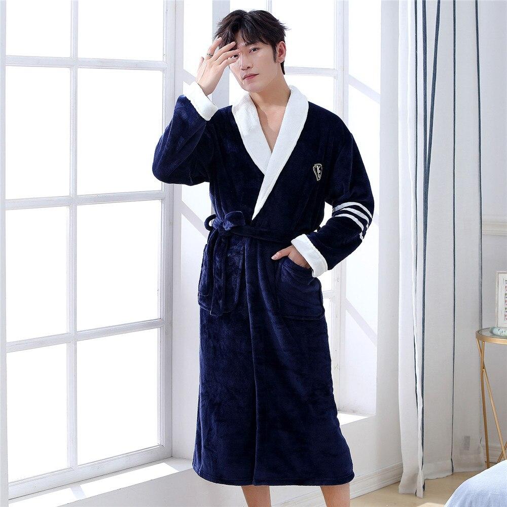 Navy Blue Winter New Men Robe Thicken Padded Flannel Kimono Bathrobe Gown Turn-down Collar Loose Warm Intimate Lingerie Pajamas