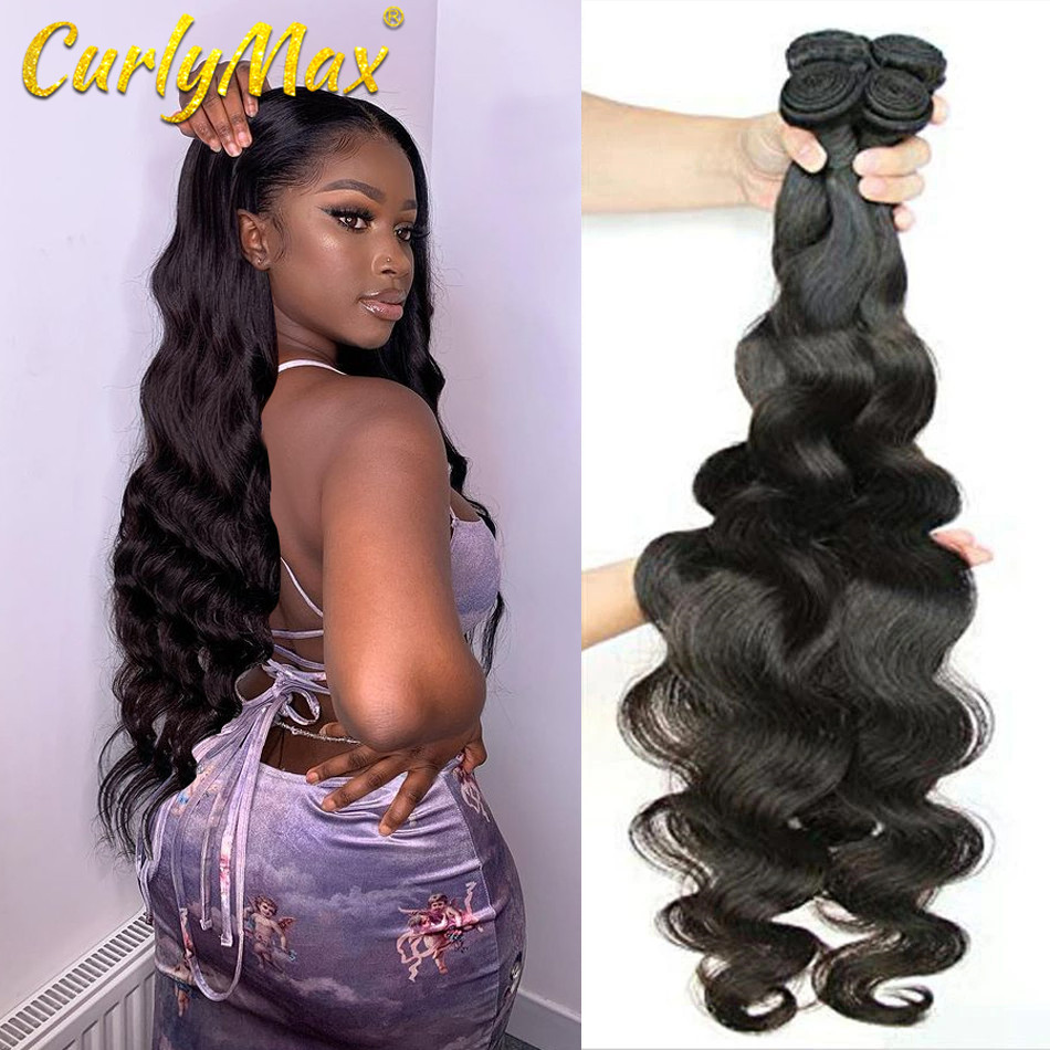 Curlymax 28 30 32 34 36 40 Polegada pacotes de onda do corpo remy brasileiro tecer cabelo humano qualidade superior duplo desenhado tecer pacotes