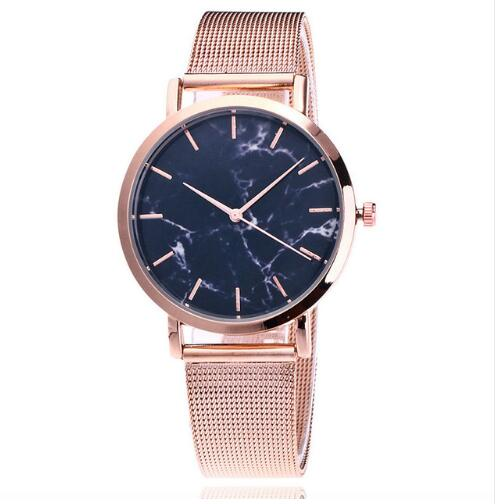 Dropshiping Fashion Rose Gold Mesh Band Creative Marble Wrist Watch Casual Women Watches Brand Quartz Gift Relogio Bayan Kol Saa