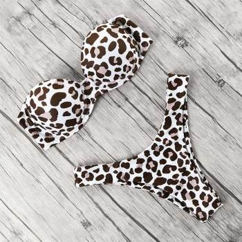 Animal Print Leopard Bikini Push Up Swimsuit Sexy Women Bikini Set Brazilian Thong Bathing Suit Bandeau Beach Wear Swimwear 14