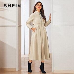 Image 3 - معطف نسائي طويل من SHEIN كاكي بسحاب متوهج بحاشية واسعة وياقة واسعة عند الخصر مناسب للخريف