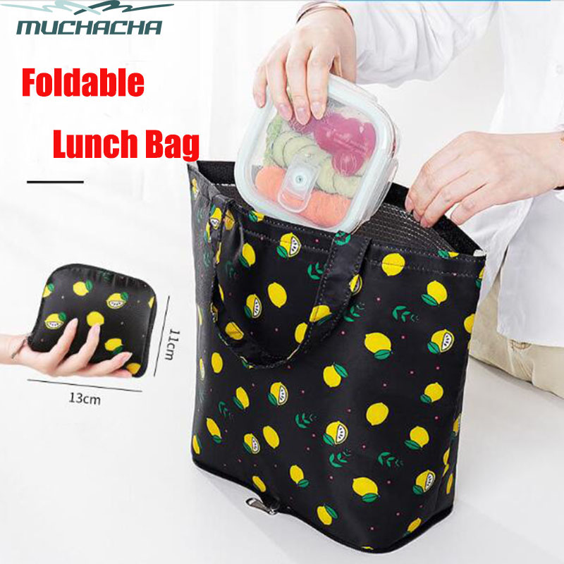 Fashion Printing Twill Oxford Picnic Lunch Tote Shoulder Foldable Aluminum Film Thermal Insulated Cooler Bag