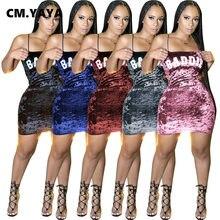 CM.YAYA-Vestido corto ajustado de terciopelo con letras para otoño, minivestido Sexy con tirantes finos para fiesta y Club, ajustado de media pierna