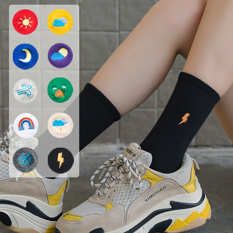 Unisex Rainbow Color Men Socks 100 Cotton Harajuku Weather Forecast Socks Men Standard Length 1 Pair