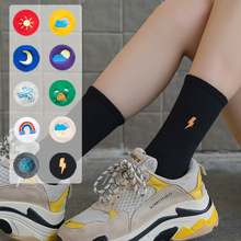 Unisex Rainbow Color Men Socks 100 Cotton Harajuku Weather Forecast Standard Length 1 Pair