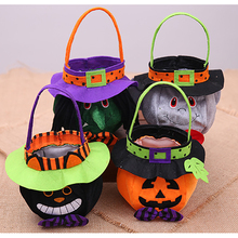 2019 1pcs Halloween Creative Three-dimensional Non-woven Pumpkin Witch Black Cat Vampire Portable Candy Bag Party Small Gift