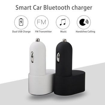 Multifunctional Smart Car Charger Dual USB MP3 Music Player Support FM Radio Hands Free Calling Adapter image
