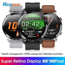 2021 nova microfones l16 relógio inteligente ecg pressão de oxigênio no sangue 360*360 ips ip68 à prova dip68 água banda fitness vs l13 l15 l19 smartwatch