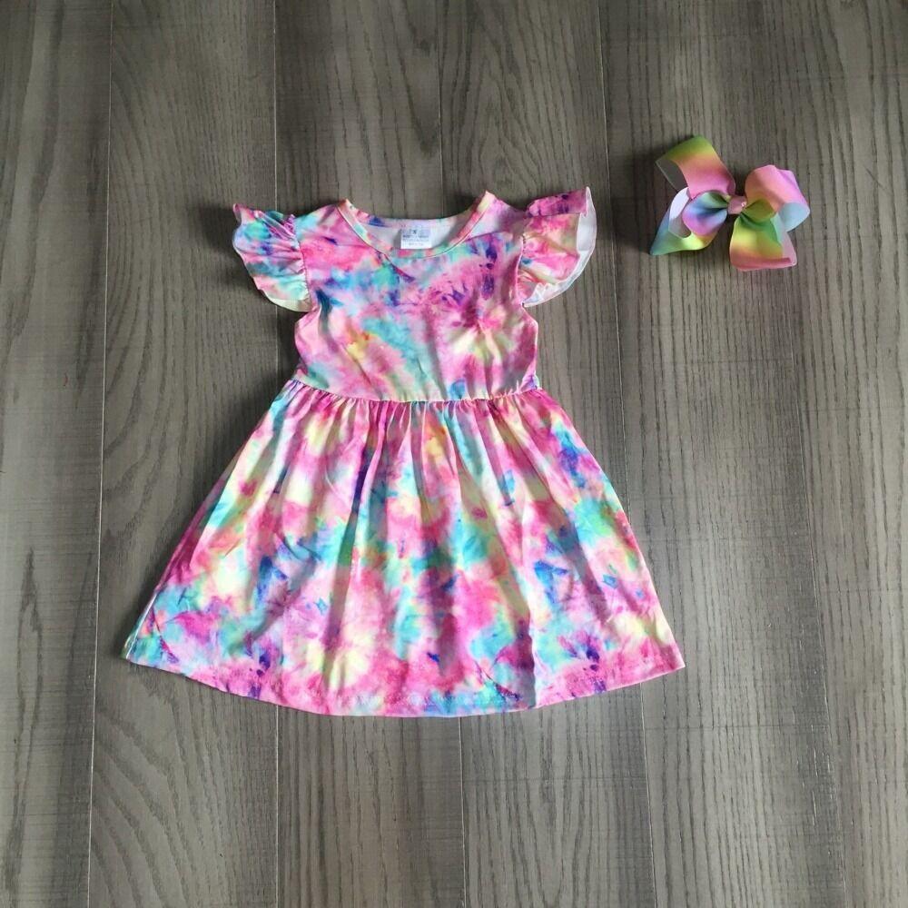 Baby Girls Summer Dress Girls Tie Dye Dress Girls Kids Classic Cloud  Dress With Bow