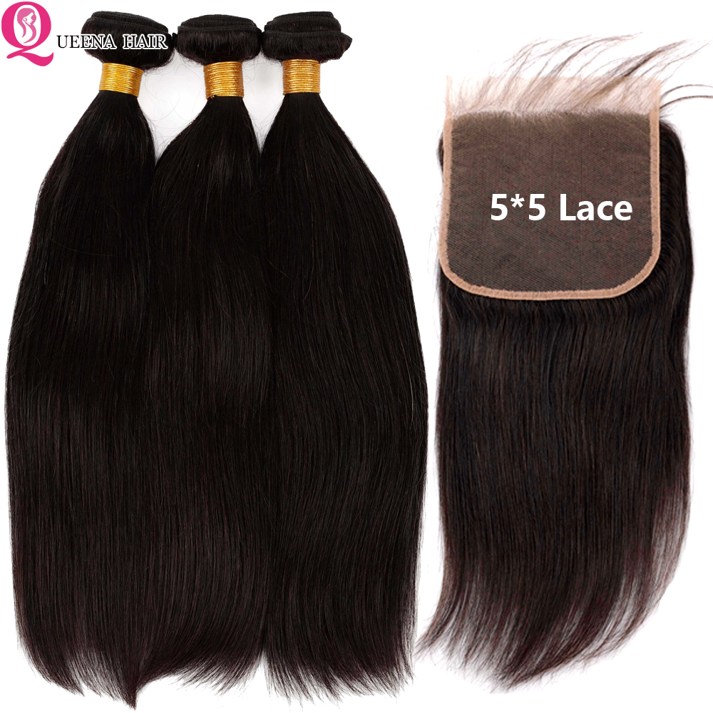 Straight Bundles With Closure 5x5 Transparent Lace Closure With Bundles Remy Brazilian Human Hair Weave 3 Bundles With Closure