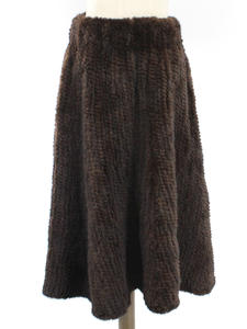 Skirt Mink-Fur Long-Style Winter Women Genuine Silid-Color Thick Fashion Knitted Handmade