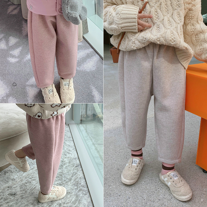 2019 winter new baby girl woolen velvet warm pants fashion baby kids trousers children clothes