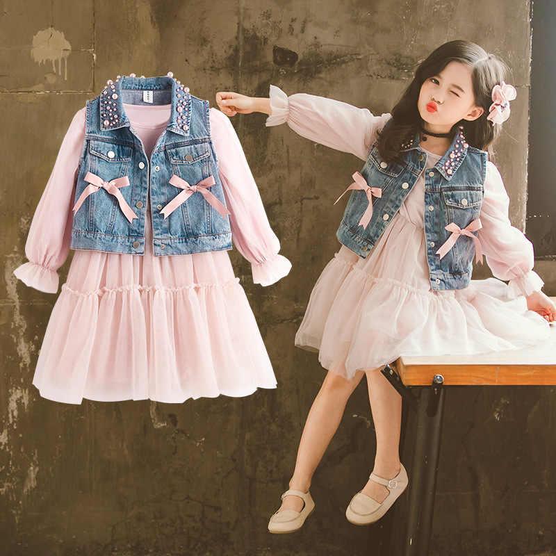 Bộ 2 Tập Đi Bé Gái Đầm Ren + Đầm Denim Áo Khoác Trẻ Em Hoa Chiffon Không Tay Lưới Áo Váy Trẻ Em Quần Áo Cho Bé Gái 3 Đến 12