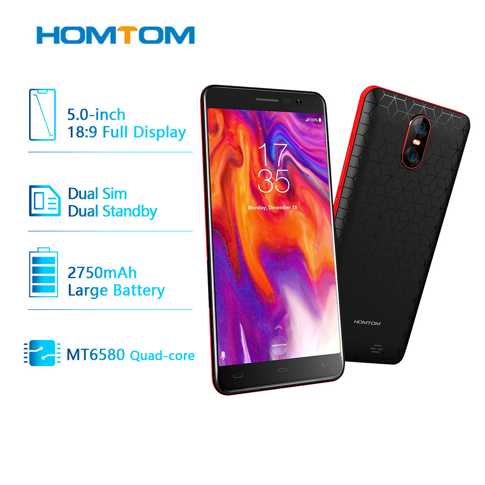 Original New <font><b>HOMTOM</b></font> S12 Smartphone 3G WCDMA Android 6.0 Full Screen Cellphone 1GB RAM 8GB ROM MTK6580 Quad Core Mobile Phones image