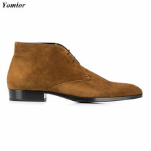 Yomior New Genuine Leather Pointed Toe Men Shoes Cow Suede British Men Ankle Boots Vintage Dress Wedding Chelsea Boots Fashion new arrival korean style pointed toe red black mixed color man wedding shoes genuine leather ankle metal chain design boots men