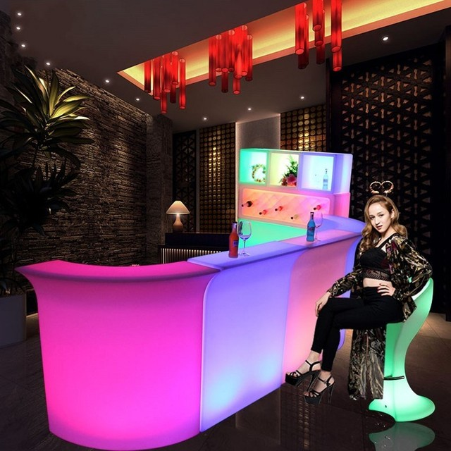 110CM Height LED Luminous Bar Counter waterproof rechargeable Rundbar LED furniture 16 Color Changing Club Waiter bars disco