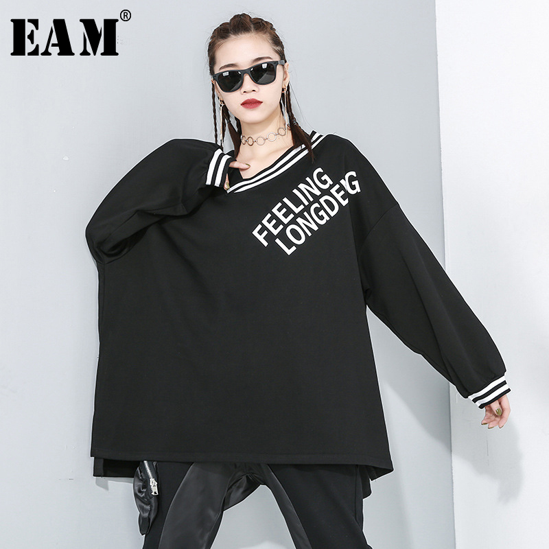 [EAM] Women Black Letter Print Split Joint Big Size T-shirt New V-Neck Long Sleeve  Fashion Tide  Spring Autumn 2020 1R177