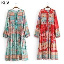 Womens Ethnic Long Lantern Sleeves Bohemian Floral Print Retro V-Neck Tassels Drawstring Swing Midi Dress S-XL