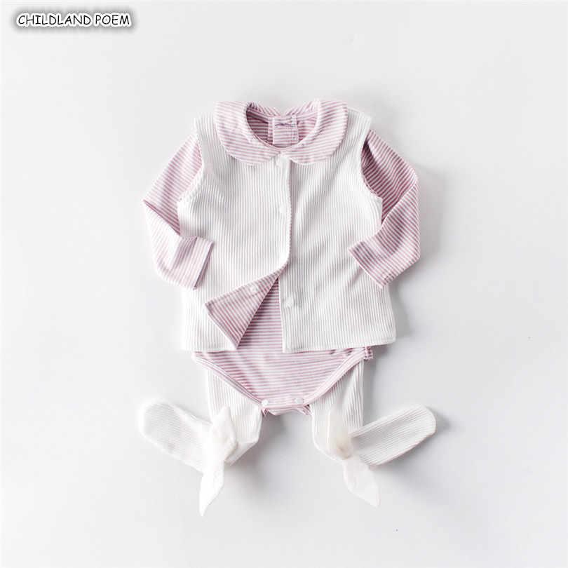 Bayi Gadis Pakaian Musim Semi Musim Gugur Bayi Pakaian Set untuk Gadis 100% Katun Bayi Set Pakaian Bayi Baju Monyet + Rompi pakaian Bayi