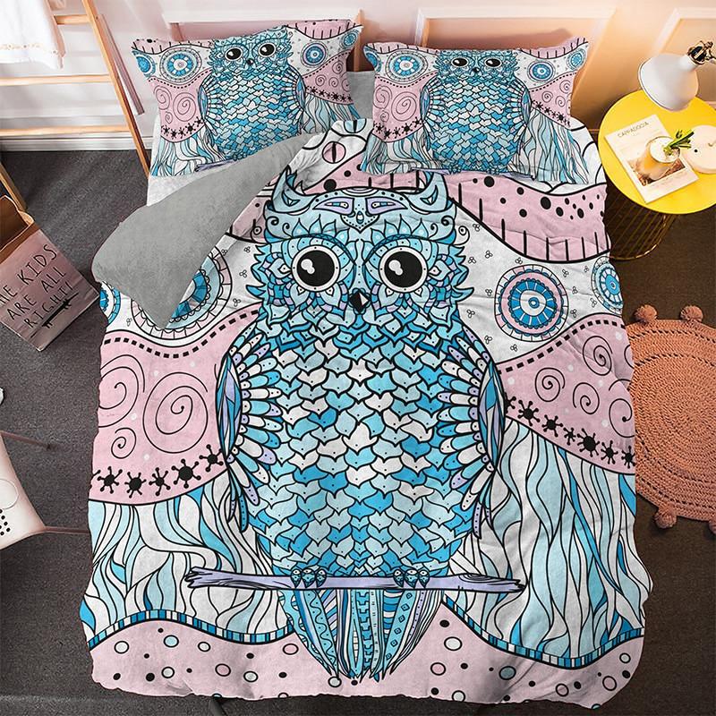 Fashion 3D Animal Owl Bedding Set Home Decor Soft Fabric Microfiber Queen King Size Bed Set 3pcs